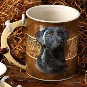 Black Lab Dog Sculpted Coffee Mug