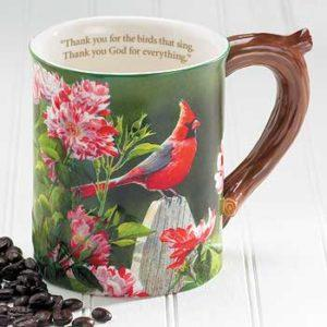 Cardinal Sculpted Coffee Mug with Devotional Verse