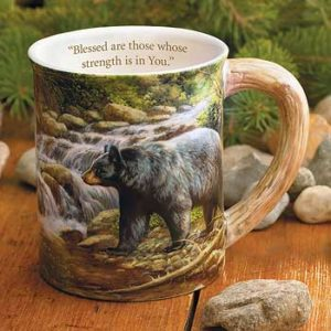 Black Bear Sculpted Coffee Mug with Devotional Verse