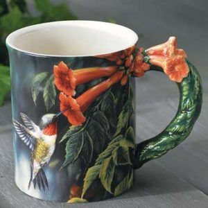 Hummingbird Sculpted Coffee Mug with Devotional Verse
